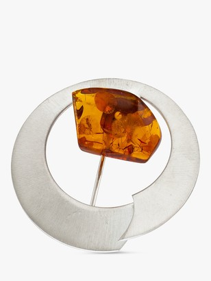 Be Jewelled Be-Jewelled Brushed Baltic Amber Round Brooch, Silver/Cognac