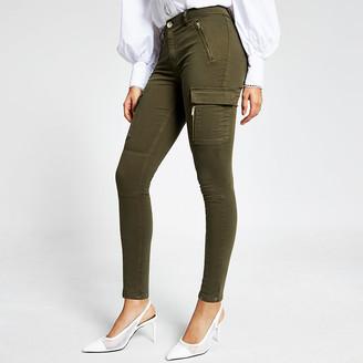 River Island Khaki utility zip front skinny trousers