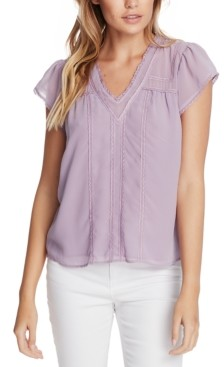 1 STATE Lace-Trim V-Neck Top
