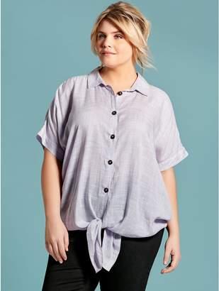 M&Co Plus button tie front shirt