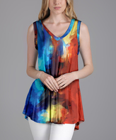 Lily Blue & Red Abstract V-Neck Tunic - Plus Too