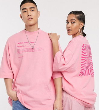 Collusion Unisex extreme oversized t-shirt with print in pink