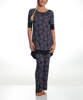 Catherine Malandrino Black Paisley Pajama Set