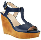 G.I.L.I. got it love it G.I.L.I. T-strap Leather Faux Wood Wedges - Michelle