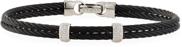 Alor Noir Black Stainless Steel & Diamond Cable Bangle Bracelet