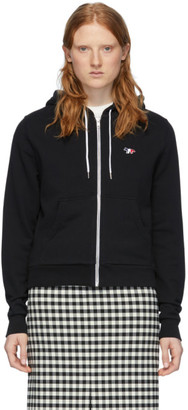 MAISON KITSUNÉ Black Tricolor Fox Zip-Up Hoodie