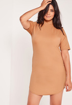 Missguided Plus Size Curve Hem Dress Camel