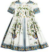 Dolce & Gabbana Maiolica Print Cotton Poplin Dress