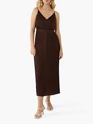 Warehouse Satin Pleated Midi Dress, Choc