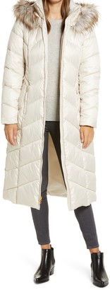 Gallery Long Quilted Parka with Faux Fur Trim