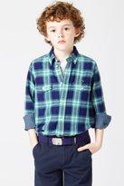 Lacoste Boy's Long Sleeve Plaid Double Face Poplin Shirt