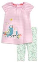 Infant Girl's Mini Boden Bird Applique Dress & Leggings Set