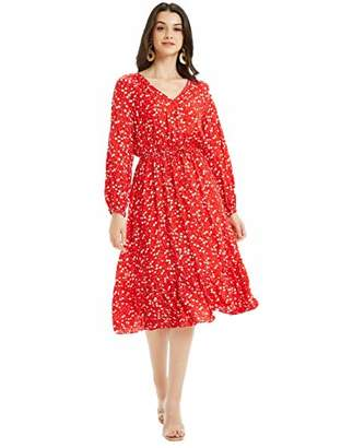Basic Model Women's Casual V Neck Long Sleeve Drawstring Waist Floral Dress