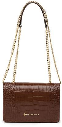 Persaman New York Afifa Croc Embossed Leather Crossbody Bag