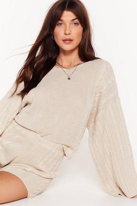 Nasty Gal Womens Knit Won't Happen Again Shorts Lounge Set - Beige - S