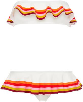 Zimmermann Ruffled Striped Bandeau Bikini