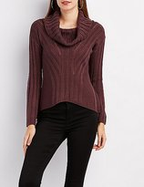 Charlotte Russe Pointelle Cowl Neck Sweater