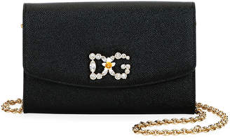 Dolce & Gabbana Crystal-Logo Leather Wallet On Chain