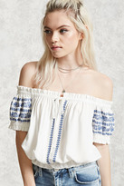 Forever 21 FOREVER 21+ Embroidered Off-the-Shoulder Top