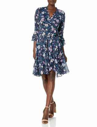 Tahari ASL Women's Long Sleeve Floral Smocked Wrap Dress
