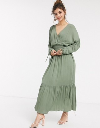 ASOS DESIGN wrap front maxi dress with elasticated waist in crinkle in khaki