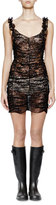 Saint Laurent Sleeveless Metallic-Lace Ruched Dress, Black