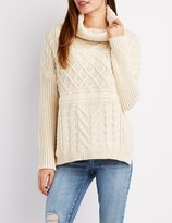 Charlotte Russe Turtleneck Mixed Knit Sweater