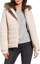 Maralyn & Me Quilted Faux Fur Trim Hooded Jacket
