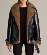 AllSaints Hawley Oversized Shearling Biker Jacket