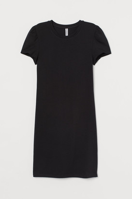 H&M Fitted Puff-sleeved Dress - Black