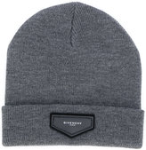 Givenchy logo plaque beanie hat