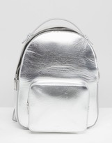 MANGO Metallic Backpack With Pocket Detail