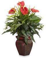 Bed Bath & Beyond Nearly Natural Mixed Greens & Anthurium w/ Decorative Vase Silk Plant