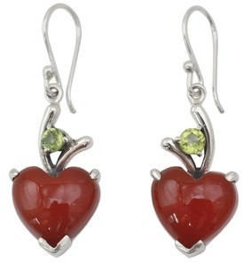 Novica Heart Dangle Earrings, 'A Sigh of Romance'
