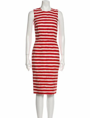 Dolce & Gabbana Striped Midi Length Dress Red