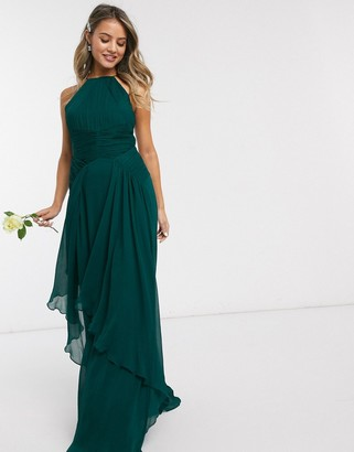 Asos Design DESIGN Bridesmaid pinny maxi dress with ruched bodice and layered skirt detail