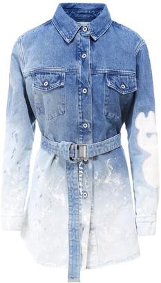 Off-White Wash Effect Denim Shirt Dress