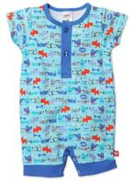 Zutano Newborn Le Chien Henley Short Sleeve Romper in Blue