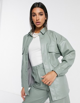 Neon Rose oversized shacket in faux-leather co-ord