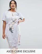 Asos SALON Midi Pencil Dress In Peonie Floral Print