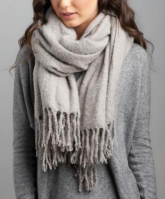 BEIGE Lemon Legwear Women's Cold Weather Scarves Flannel Snow Storm Fringe Scarf - Women