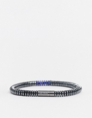 BOSS Hugo beaded bracelet in grey and blue with magnetic clasp