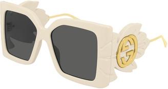 Gucci Square Acetate Sunglasses w/ Oversized Leaf & GG Temples