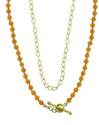 Cathy Waterman 17 Inch Coral Bead and Yellow Gold Chain Necklace