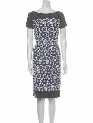 Prada Lace Pattern Knee-Length Dress Grey