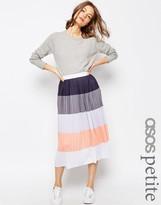 Asos Stripe Pleat Midi Skirt