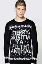 Boohoo Merry Christmas Ya Filthy Animal Jumper