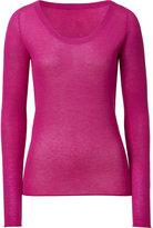 Fuchsia Scoop Neck Long Sleeve T-Shirt