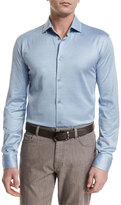 Ermenegildo Zegna Cotton/Silk Long-Sleeve Sport Shirt, Light Blue