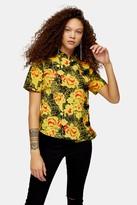 Topshop Womens Petite Yellow Floral Print Frogging Blouse - Yellow